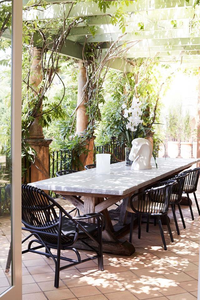 """The Mediterranean style [alfresco dining space](https://www.homestolove.com.au/inviting-outdoor-room-ideas-19144