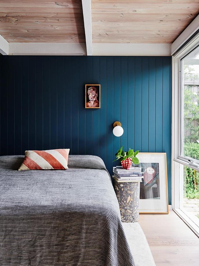 """""""My favourite artwork in the house is the tiny Steve Salo portrait that hangs above our bed,"""" said artist Prudence Oliveri, the owner of this [bold and beautiful Jan Juc home](https://www.homestolove.com.au/prudence-olivieri-home-21346