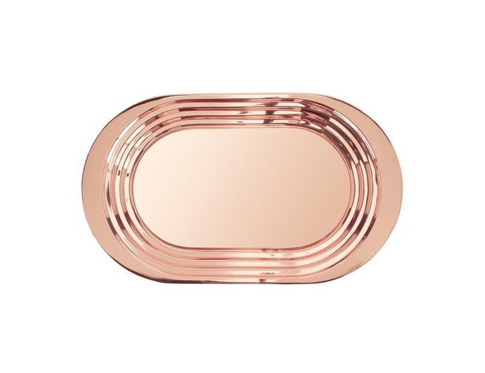 "Tom Dixon 'Plum' tray in copper, $255, [David Jones](https://www.davidjones.com/Product/22349294/PLUM-TRAY-COPPER target=""_blank"" rel=""nofollow"")"