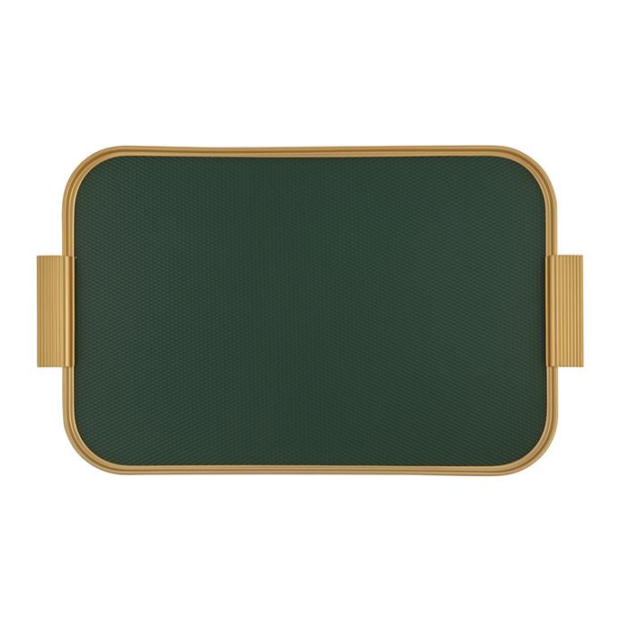 """Kaymet ribbed metal tray with handles, $214, [Amara](https://www.amara.com/au/products/ribbed-metal-tray-with-handles-forest-green-gold target=""""_blank"""" rel=""""nofollow"""")"""