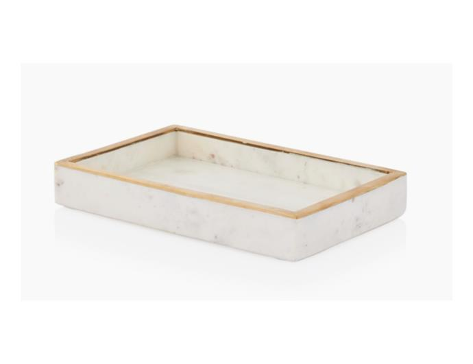 """'Artemis' marble tray, $80, [Coco Republic](https://www.cocorepublic.com.au/artemis-marble-tray-rectangle-9397?m=configurable_scp target=""""_blank"""" rel=""""nofollow"""")"""
