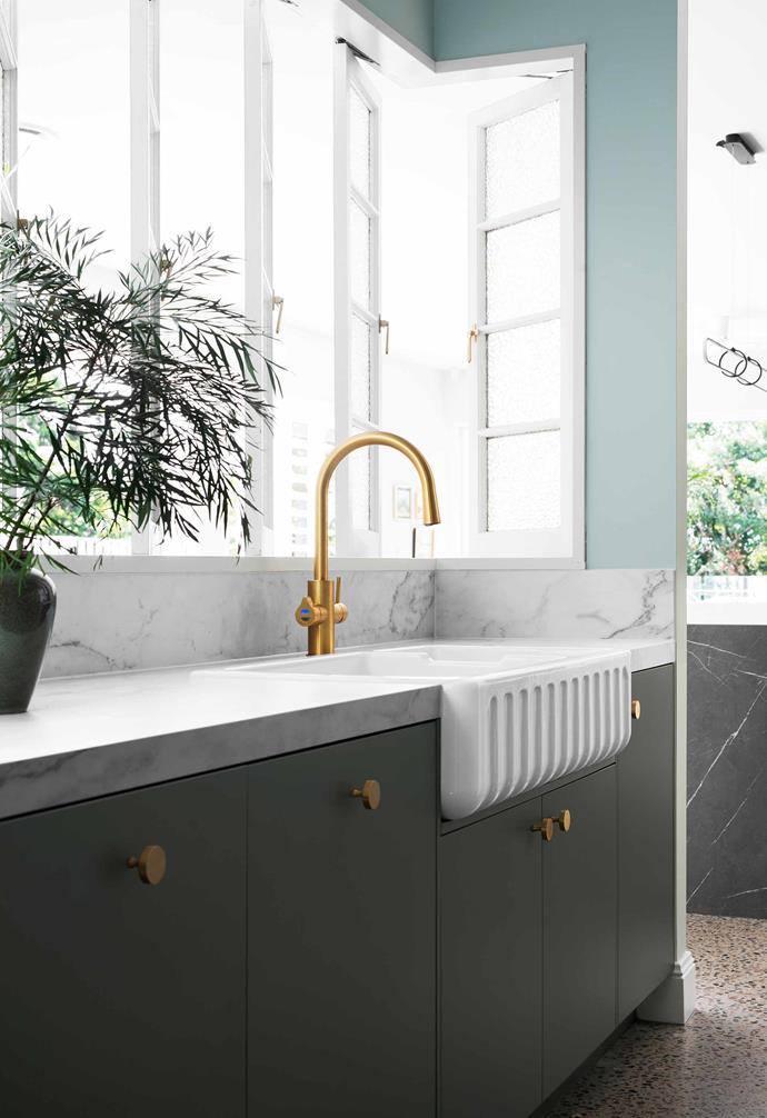 """**Kitchen sink** Behind the Chambord Louis sink from [Abey](https://www.abey.com.au/