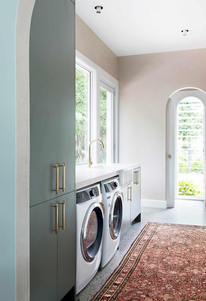 """**Laundry** The bespoke walls are Istinto Levigata by [Luxury Wall Finishes](https://www.luxwallfinishes.com/