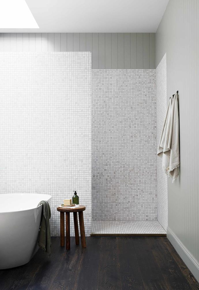 """**Family bathroom** To that end, she limited the White Cloud marble mosaics from [National Tiles](https://www.nationaltiles.com.au/