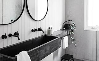 Black and white marble bathroom