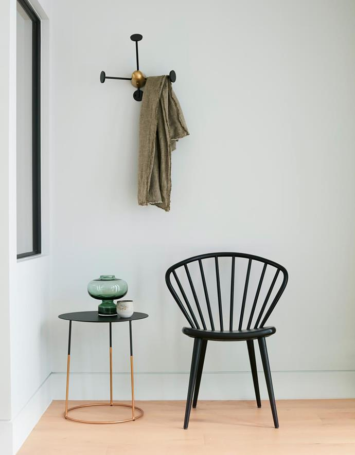 Miss Holly chair, Thonet. Mategot coat hook, Cult.