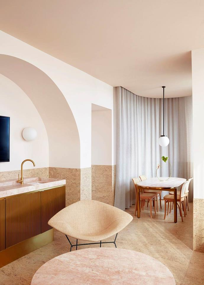 "Pink and caramel tones in this room accent the rose-coloured marble in the [Calile Hotel, Brisbane](https://www.homestolove.com.au/the-calile-hotel-brisbane-19791|target=""_blank""). Photo: Sean Fennessy"