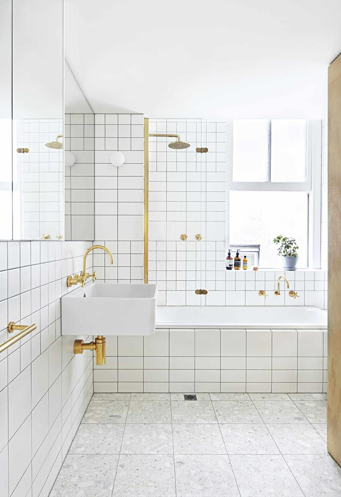 """**Gold rush** The existing [bathroom layout](https://www.homestolove.com.au/4-space-savvy-bathroom-layouts-4136