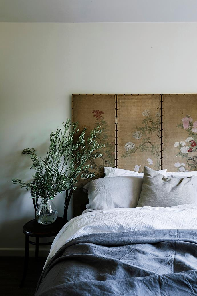 A beautiful French screen from The Drill Hall Emporium is used as a bedhead in the second bedroom.