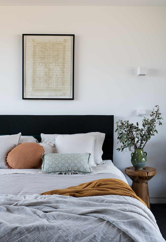 """**Main bedroom ** Vanessa chose a simple bedhead from [Adairs](https://www.adairs.com.au/