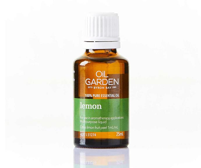 "Lemon pure essential oil 25ml, $22.99, [Oil Garden](https://www.oilgarden.com.au/products/products-lemon-pure-essential-oil-25ml-html/|target=""_blank""