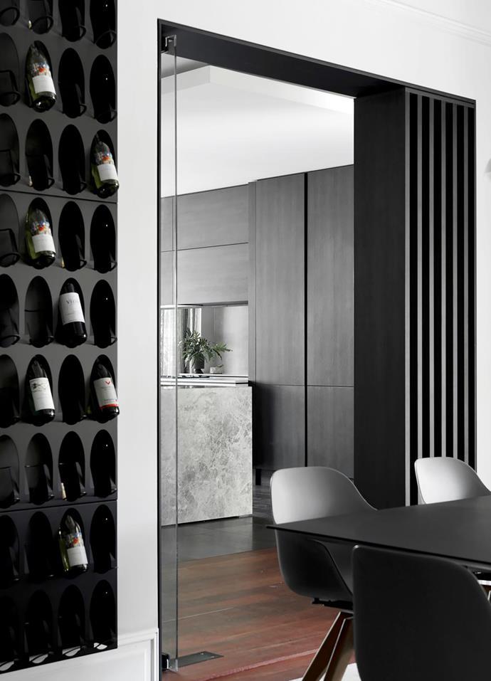 Wine racks, Living Edge. Custom wall panelling by The Kitchen Studio IQ.