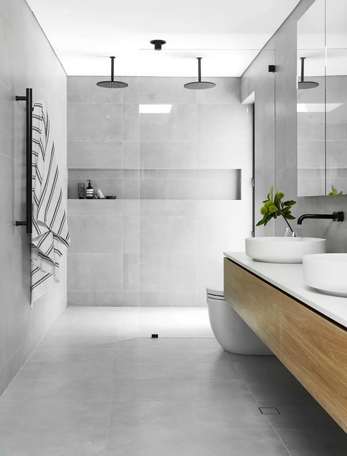 Alexia tiles, European Ceramics. Custom vanity, The Kitchen Studio. Silestone Linen benchtop. Antonio Lupi basins, Axor Citterio tapware and coordinating showerheads, all Sea of White. Købn towel, Empire Homewares.
