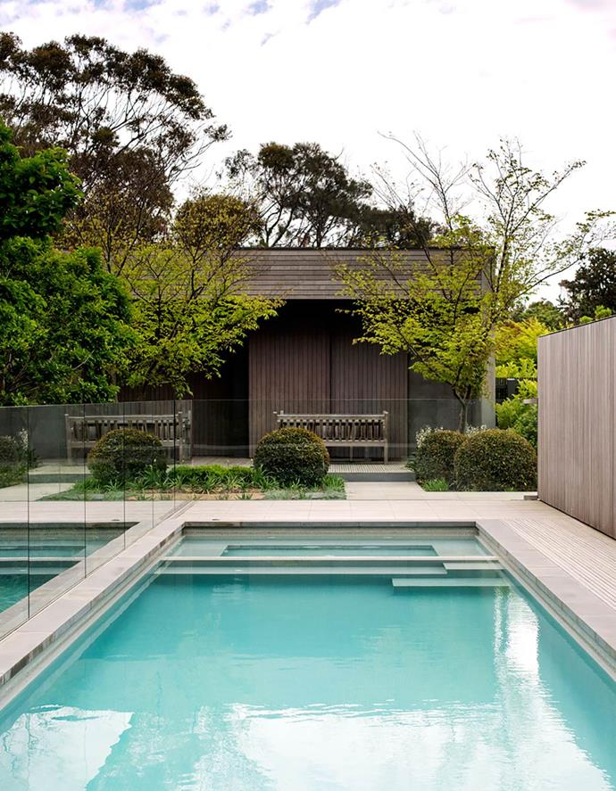 Landscape designer Robert Boyle planted a band of white crepe myrtles along the rear end of this Inarc Architects designed home to shade it in summer, embrace the low winter sun and maintain the view to the pool.
