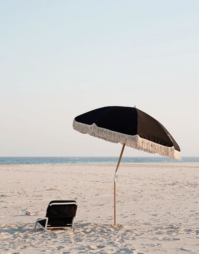 "Black Rock Beach Umbrella, $249, [Sunday Supply](https://sundaysupply.co/collections/shop/products/black-rock-beach-umbrella|target=""_blank""