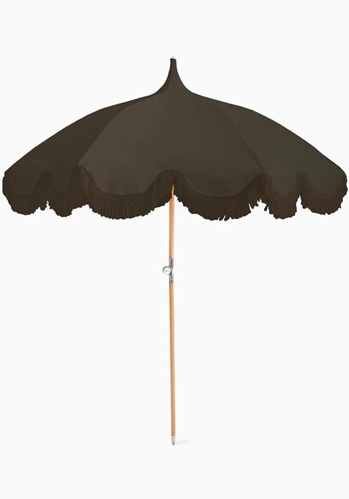 "The Beach People Olive Green Umbrella, $389, [White Bohemian](https://www.whitebohemian.com.au/collections/beach-towels/products/the-beach-people-olive-green-umbrella|target=""_blank""