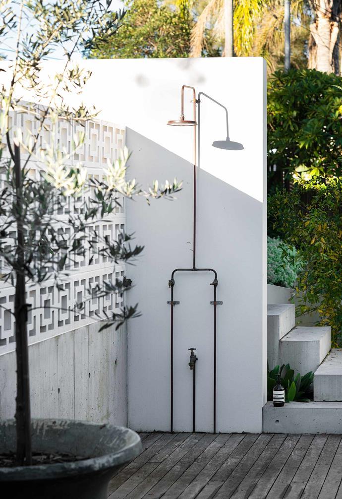 "Murray Rose outdoor shower from [Robert Plumb](https://robertplumb.com.au/|target=""_blank""|rel=""nofollow"")."