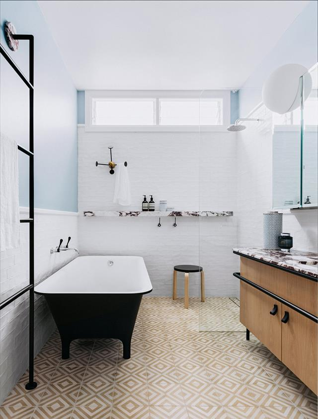 """This [bold bathroom by Arent&Pyke](https://www.homestolove.com.au/bold-bathroom-design-by-arent-and-pyke-5102