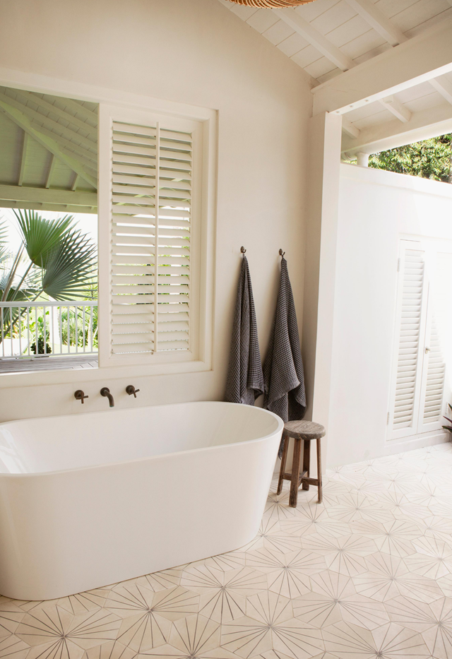 """The resort-style bathroom in [Magali Pascal's Bali home](https://www.homestolove.com.au/magali-pascal-home-bali-21691