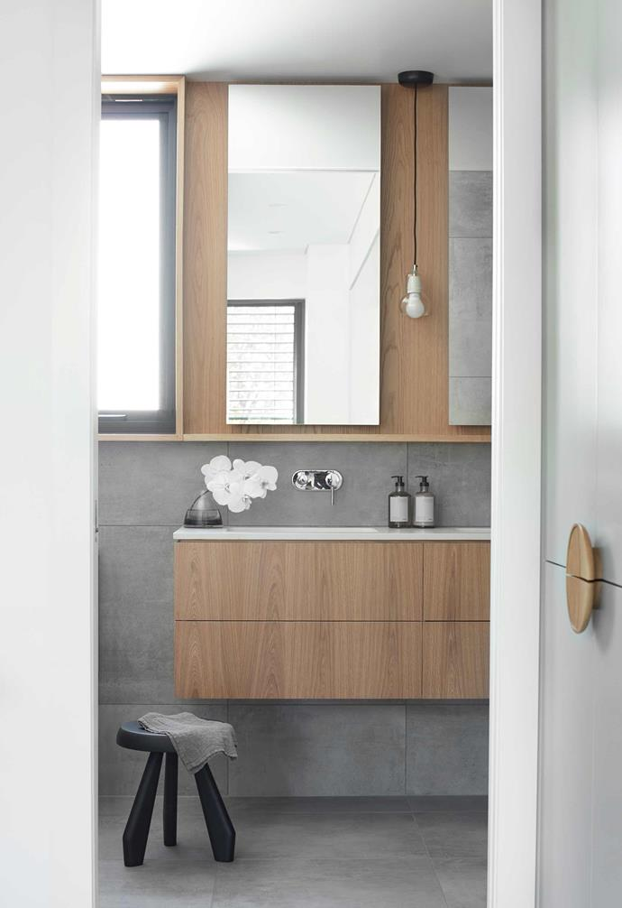 "**Ensuite** Timber details add a warm touch to the vanity. Cassina '523 Tabouret' stool, [Space](https://www.spacefurniture.com.au/|target=""_blank""