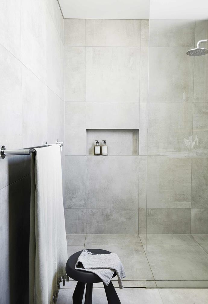 "**Ensuite** Core Shade porcelain tiles in Cloudy Natural from [Artedomus](https://www.artedomus.com/|target=""_blank""