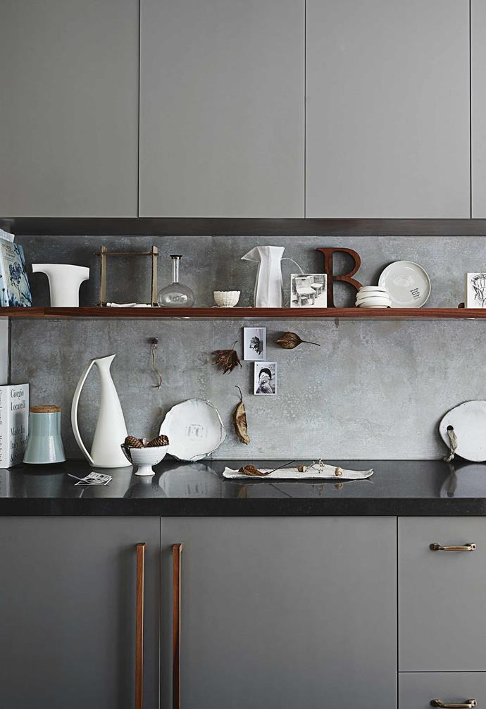 **Kitchen** Open shelving is the perfect way for Claire to show off her extensive home decor collection.