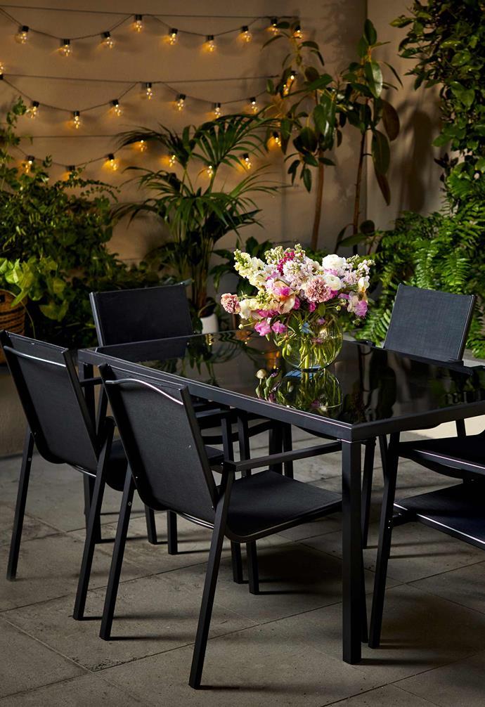 "7-piece dining set in black, $389, [Kmart Online](https://www.kmart.com.au/ target=""_blank"" rel=""nofollow"")."