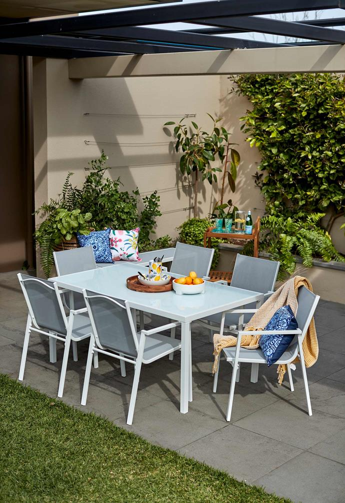 "Outdoor coastal dining table, $149, Coastal chairs set of two, $99, [Kmart Online](https://www.kmart.com.au/|target=""_blank""