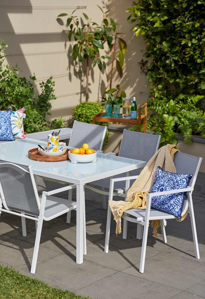 "Coastal dining table, $149, Coastal chairs set of two, $99, [Kmart Online](https://www.kmart.com.au/|target=""_blank""