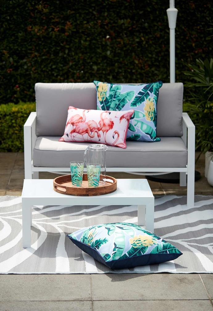 "Coastal double lounge, $189, Coastal coffee table, $39, [Kmart Online](https://www.kmart.com.au/ target=""_blank"" rel=""nofollow"")."