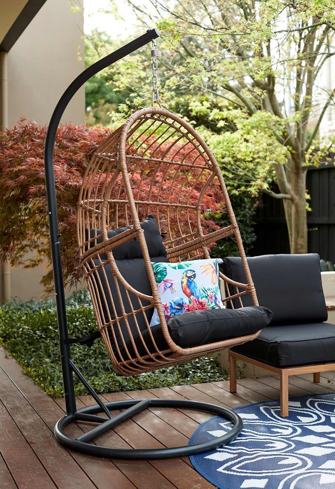 """Outdoor woven egg chair, $249, [Kmart Online](https://www.kmart.com.au/ target=""""_blank"""" rel=""""nofollow"""")."""