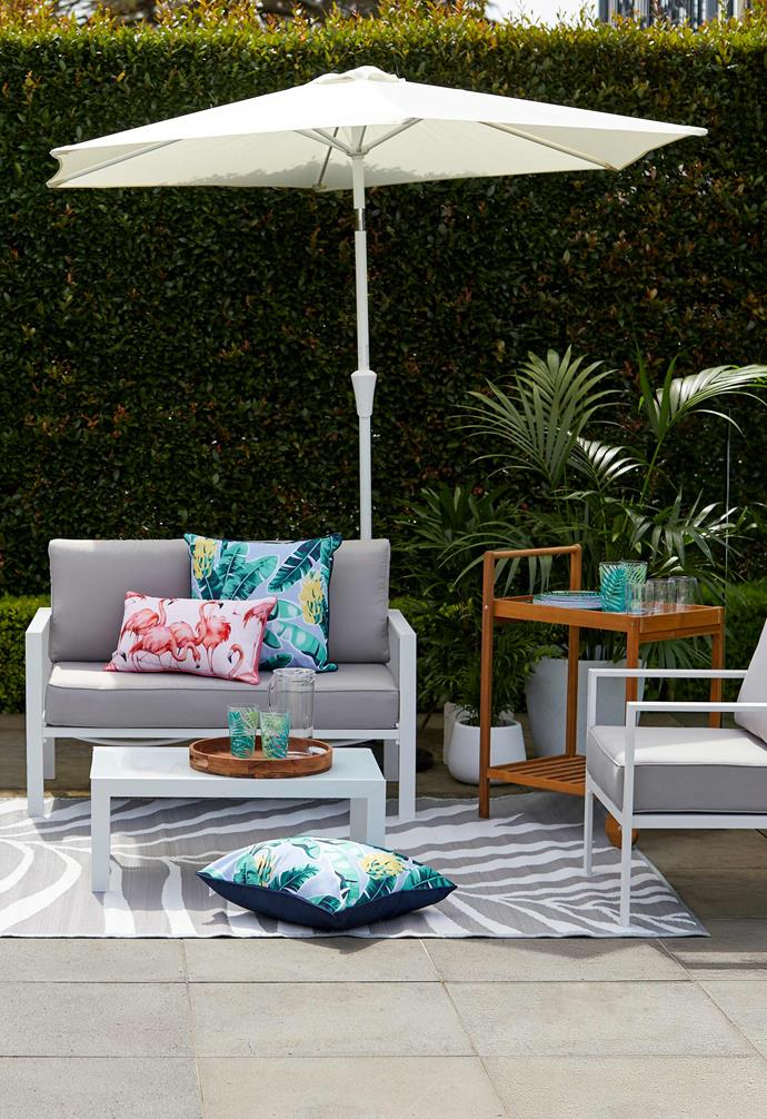 "Coastal Single Lounge, $99, Coastal Coffee Table, $39, Coastal Double Lounge, $189, Market Umbrella 2.5m Natural, $49, Umbrella Stand, $39, [Kmart Online](https://www.kmart.com.au/|target=""_blank""