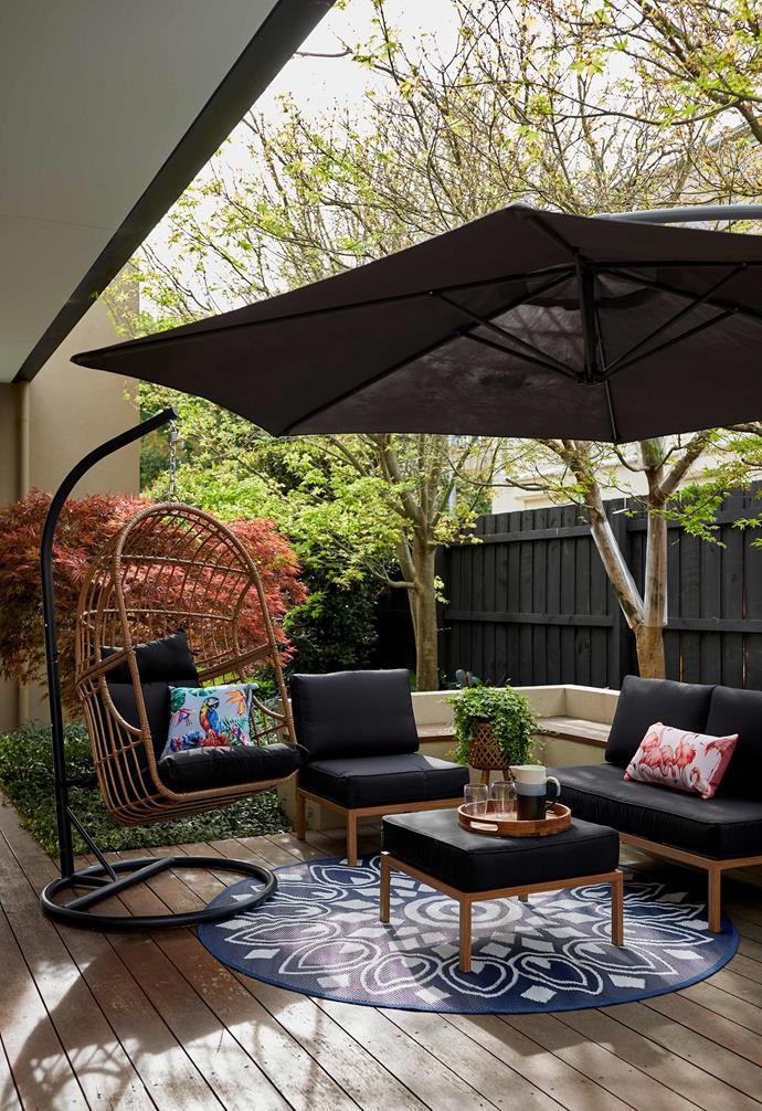 "Outdoor Cantilever Umbrella Grey, $89, Natural Wood Look Single Lounge, $99, Natural Wood Look Double Lounge $189, Natural Wood Look Ottoman, $79, Egg Chair, $249, [Kmart Online](https://www.kmart.com.au/ target=""_blank"" rel=""nofollow"")."