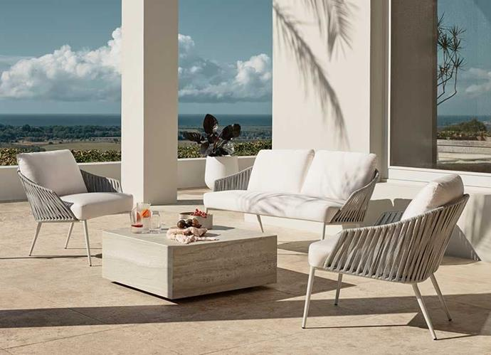 "Quay outdoor living set, POA, [King Living](https://www.kingliving.com.au/furniture/outdoor-furniture/quay-outdoor-sofa|target=""_blank""
