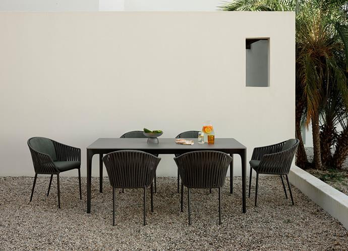 "Quay outdoor dining set, POA, [King Living](https://www.kingliving.com.au/furniture/outdoor-furniture/quay-ceramic-dining-table|target=""_blank""