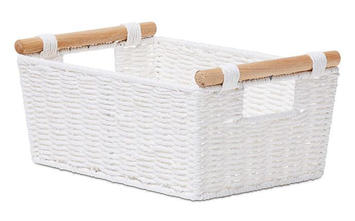 "Home Republic Kendrick white basket small, $29.99, [Adairs](https://www.adairs.com.au/homewares/baskets/home-republic/kendrick-white-small-basket/|target=""_blank""|rel=""nofollow"")."