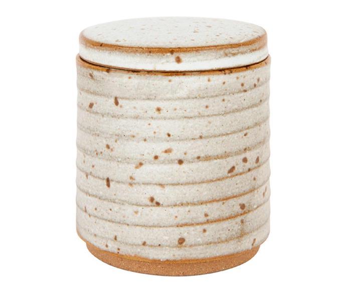 "Speckle canister in Seagrass, $47, [Zakkia](https://www.zakkia.com.au/speckle-canister-seagrass|target=""_blank""|rel=""nofollow"")."