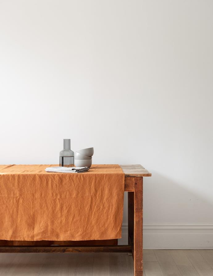 "100% linen tablecloth in Tobacco, $100, [Carlotta + Gee](https://www.carlottaandgee.com/collections/tablecloths/products/tablecloth-in-tobacco|target=""_blank""|rel=""nofollow"")"
