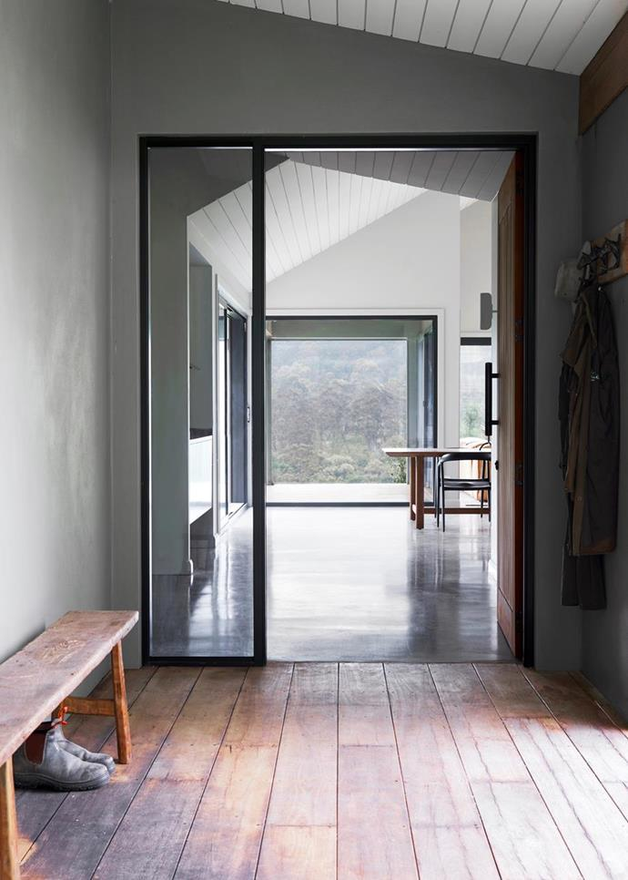 "The beautifully aged floorboards in this [modern farmhouse style weekender](https://www.homestolove.com.au/modern-farmhouse-style-weekender-21723|target=""_blank"") in the NSW Central Coast hinterland were crafted from recycled-oak. Photo: Dave Wheeler 