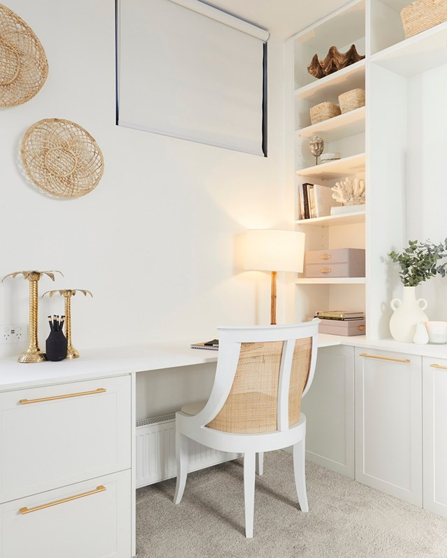 **Week 8, Upstairs Living** Luke and Jasmine turned their upstairs living space into a versatile media/rumpus/home office space. The judges loved the way Jasmin styled the room, noting a feeling of luxury and elegance and a nod to the home's seaside locale in the neutral palette and modern coastal décor.