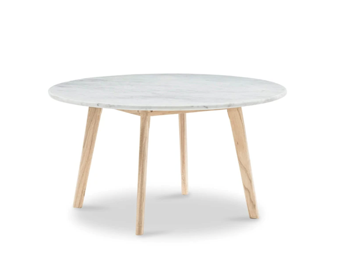 """Medium Scandi Round Marble Coffee Table, $1,049, [Harpers Project](https://www.harpersproject.com/collections/coffee-tables/products/round-marble-coffee-table-medium