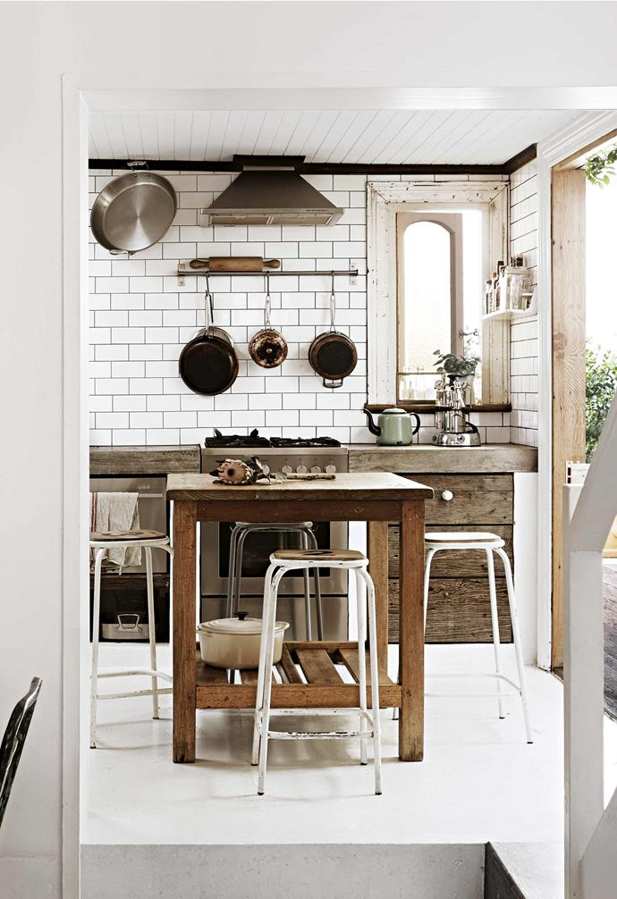 "**Kitchen** Subway tiles with black grout and stools from [Loft Furniture](https://www.loftfurniture.com.au/|target=""_blank""