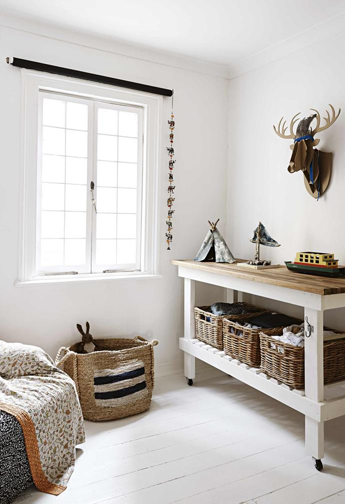 "**Tuck's bedroom** An island trolley from [Mitchell Road Emporium](https://www.mitchellroad.com.au/|target=""_blank""