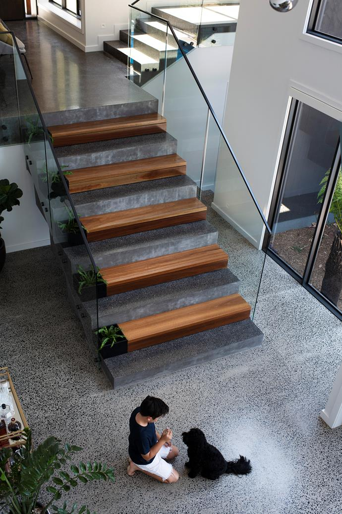 Attractive timber treads bring warmth to the stairs in the home.