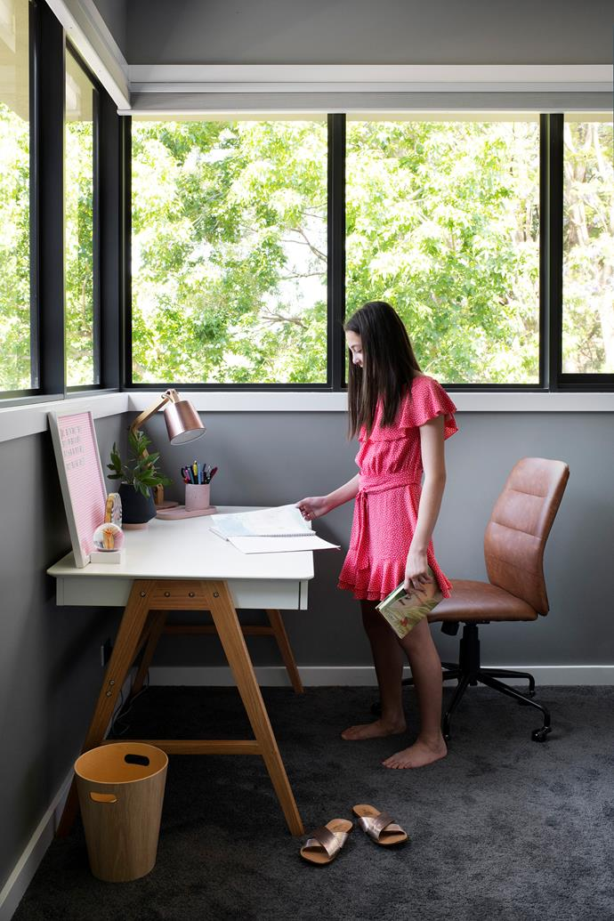 Amelia's bedroom has a dedicated study corner, complete with Temple & Webster desk and Freedom chair.