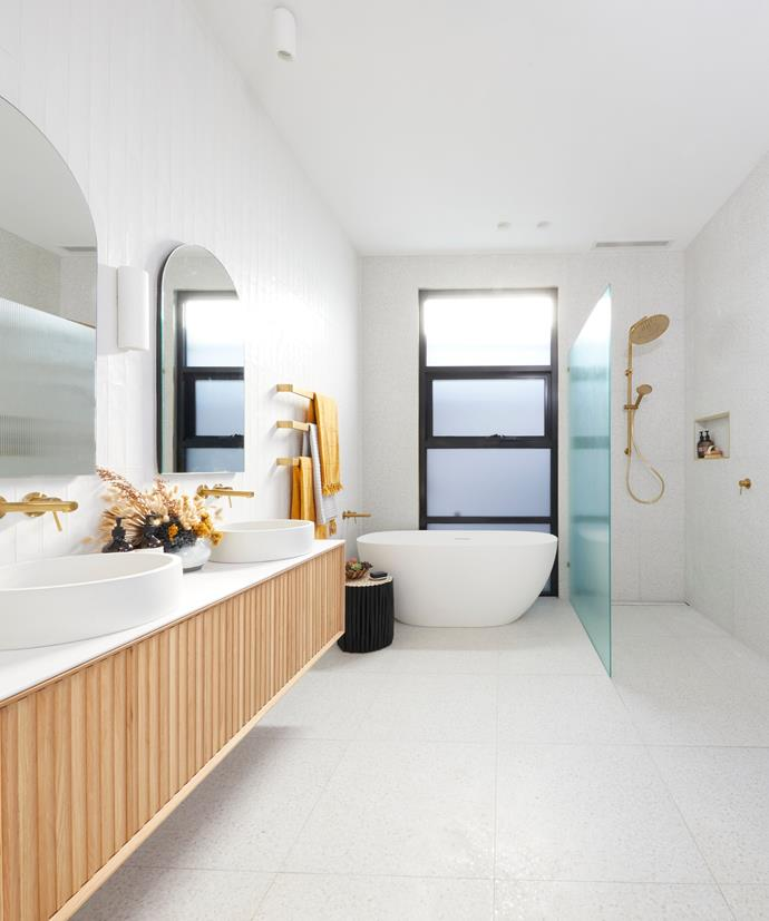"""**Week 5, Upstairs Bathroom** The judges loved Luke and Jasmin's upstairs bathroom, however. """"It's so light and spacious, the colour palette is stunning and I love the tile choice,"""" said Neale. """"I'm jealous of the kids that will use this bathroom,"""" said Shaynna."""
