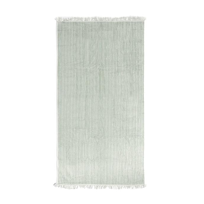 "The Beach Towel 'Lauren's Sage Stripe', $69, [Business & Pleasure Co.](https://businessandpleasureco.com.au/products/the-beach-towel-laurens-sage-stripe|target=""_blank""|rel=""nofollow"")"