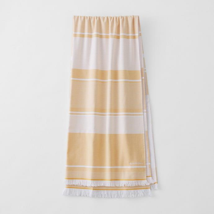 """Summerville beach towel in Gold, $69.99, [Country Road](https://www.sheridan.com.au/summerville-beach-towel-s5nq-b114-c251-904-gold.html