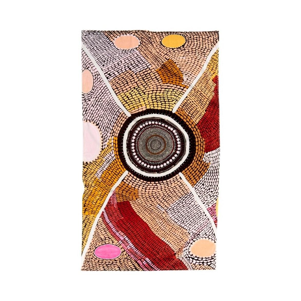 "Adairs x Miimi + Jiinda Jaanymili Printed Velour beach towel, $79.99, [Adairs](https://www.adairs.com.au/bathroom/beach-towels/adairs/miimi--jiinda-jaanymili-printed-velour-beach-towel|target=""_blank""|rel=""nofollow"")"