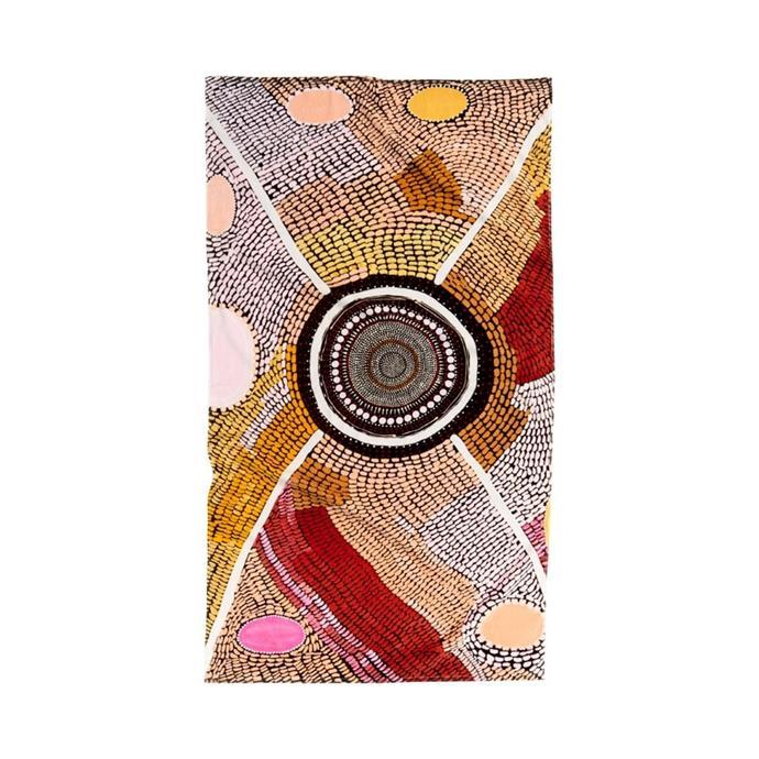 "Adairs x Miimi + Jiinda Jaanymili Printed Velour beach towel, $79.99, [Adairs](https://www.adairs.com.au/bathroom/beach-towels/adairs/miimi--jiinda-jaanymili-printed-velour-beach-towel|target=""_blank""|rel=""nofollow"")."